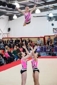 Acrobatic Gymnastics Trio quarter to front